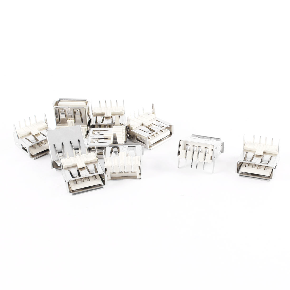 USB A Type Female Right Angle PCB Mount Jack Connector 10 Pcs
