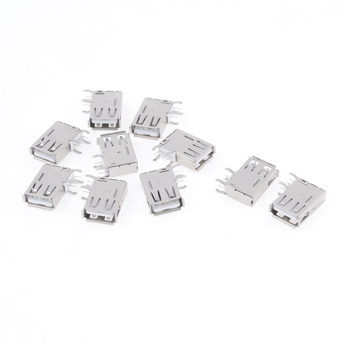 10 Pcs Side Design USB 2.0 A Female Right Angle Mount PCB Port Jack Connector