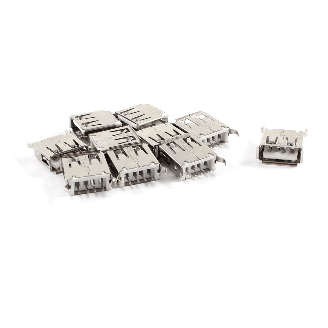 10 Pcs USB 2.0 A Type Female Straight PCB Mount Jack Connector