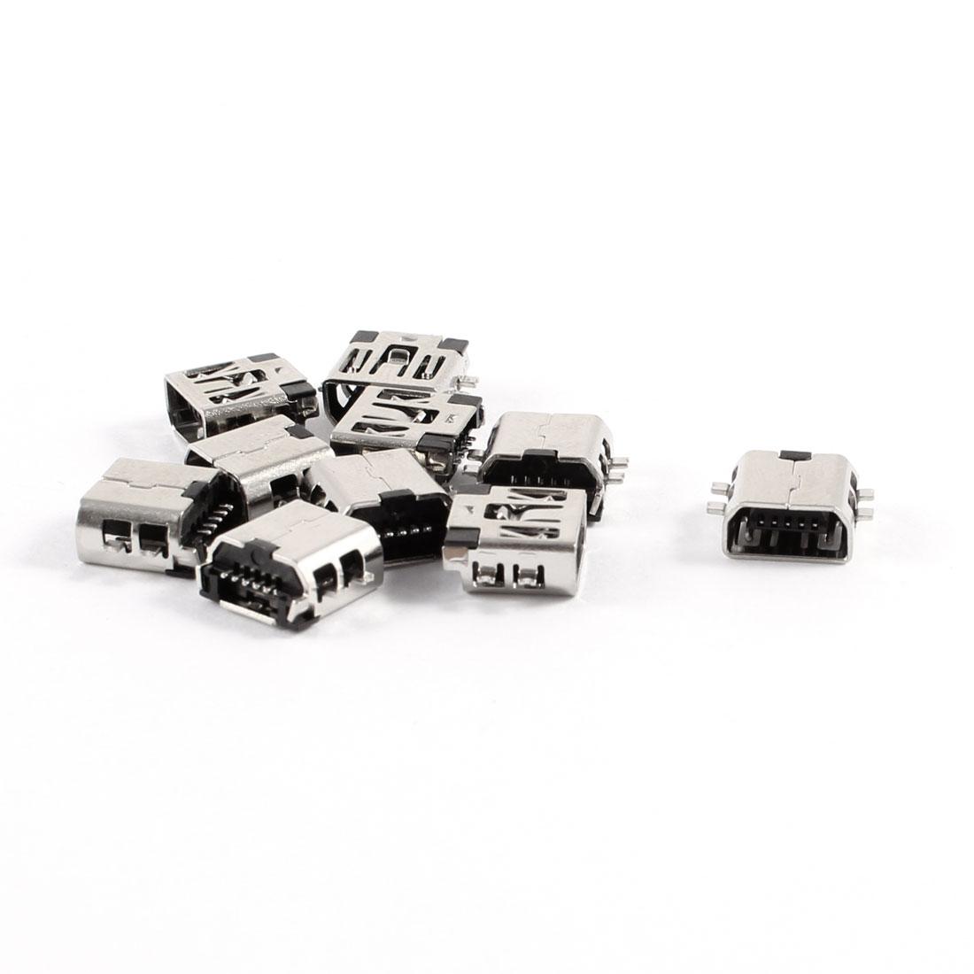 10 Pcs Female Mini USB Type B 5-Pin SMT SMD Socket Jack Connector Port PCB Board