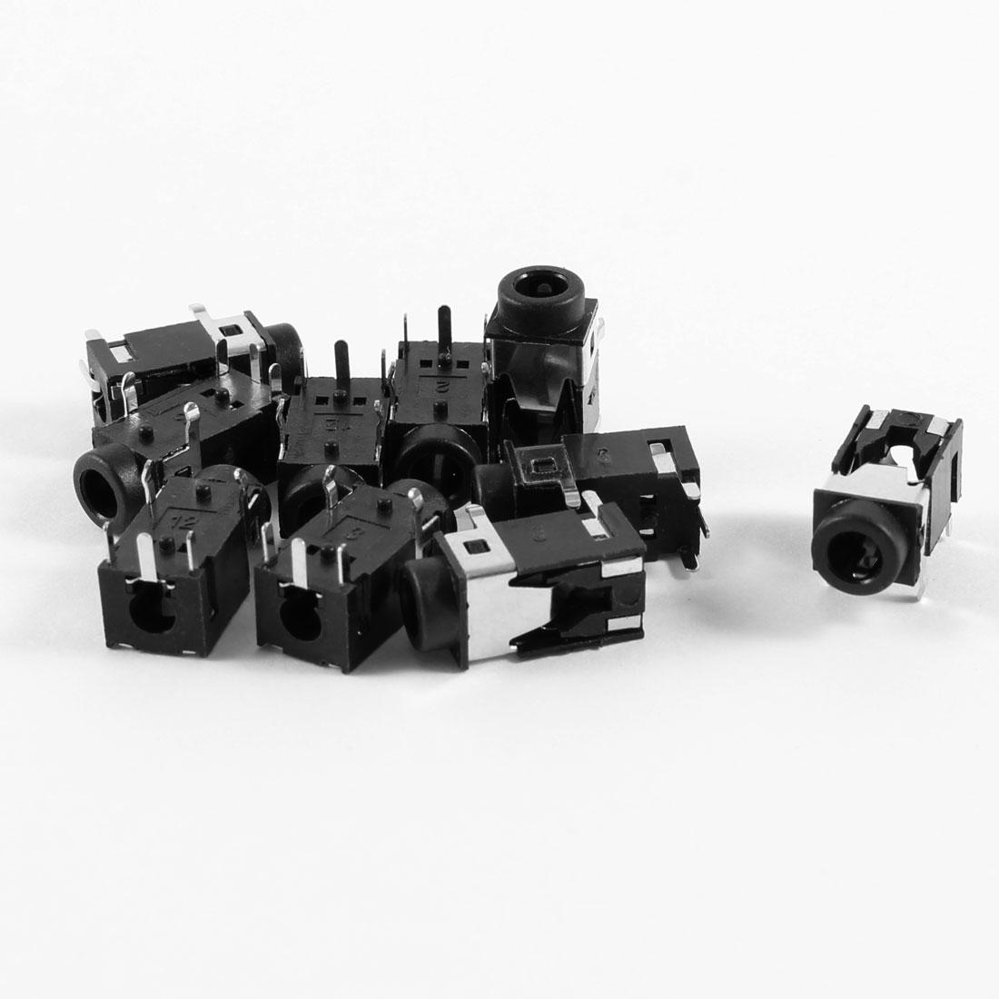 10 Pcs 5 Terminals PCB Mount 3.5mm Jacks Connectors Socket Black