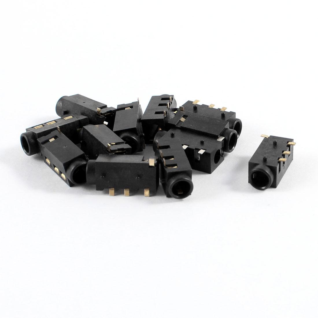 10 Pcs 4 Terminals PCB Mounting 3.5mm Jacks Connectors Socket Gold Tone Plated
