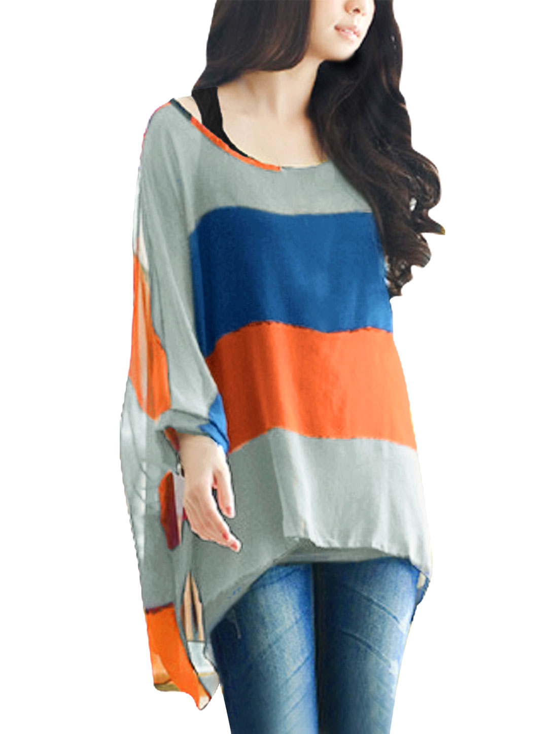 Pullover Royalblue Orange Blouse w Tank Top 2-Pieces for Lady M