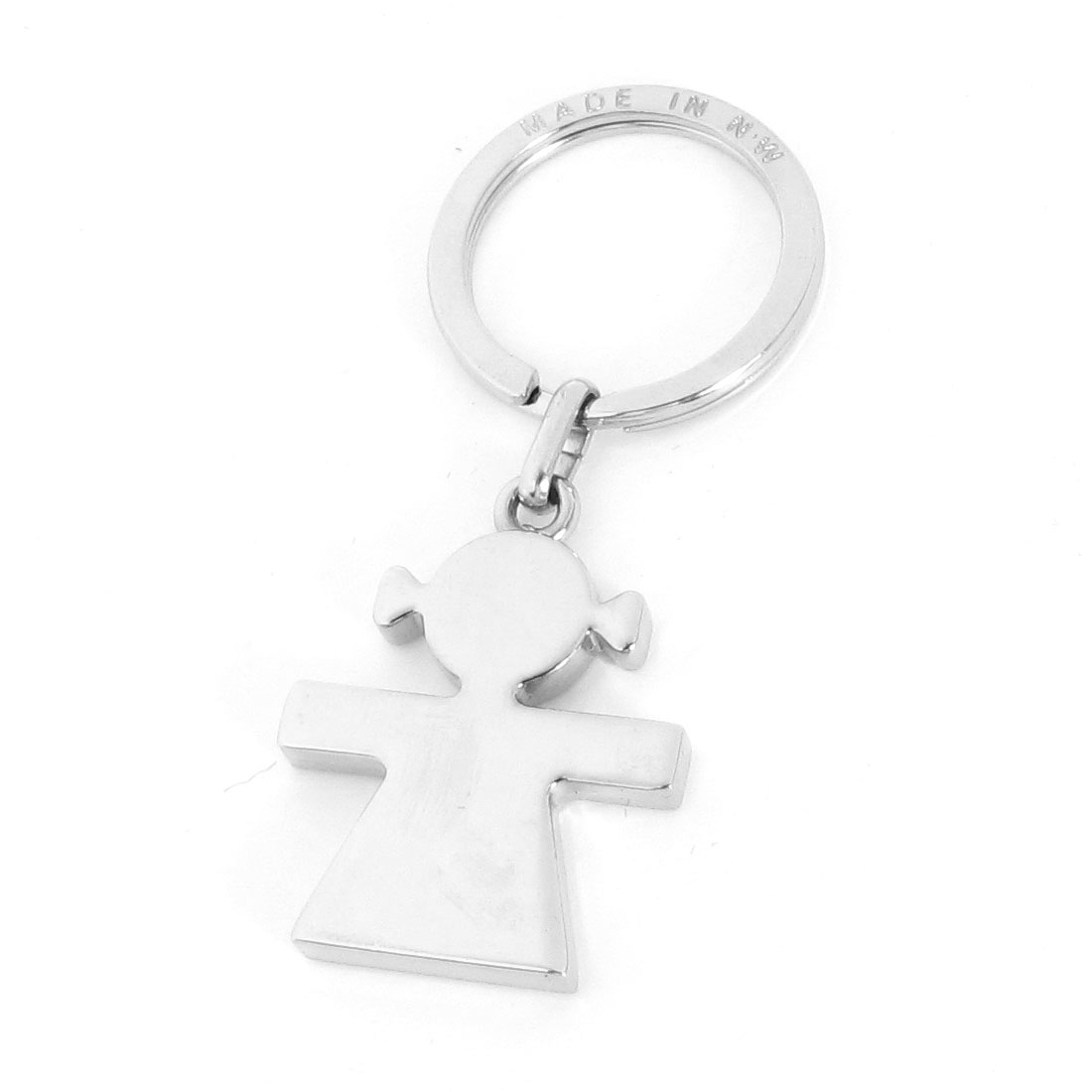 Silver Tone Metal Ring Girl Pendant Key Keys Chain Holder