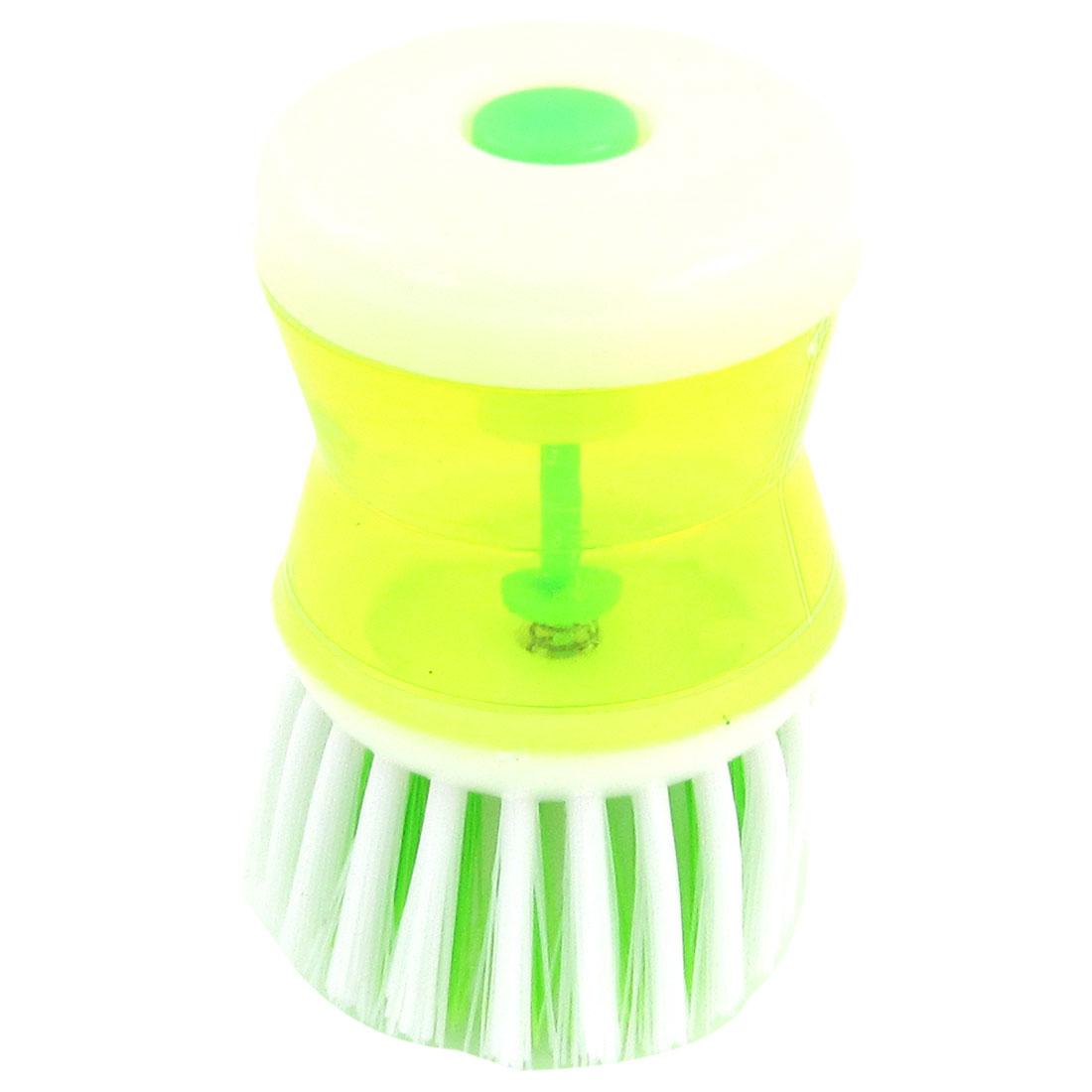 Yellowgreen White Plastic Grip Kitchen Pot Self Dispensing Cleaner Brush