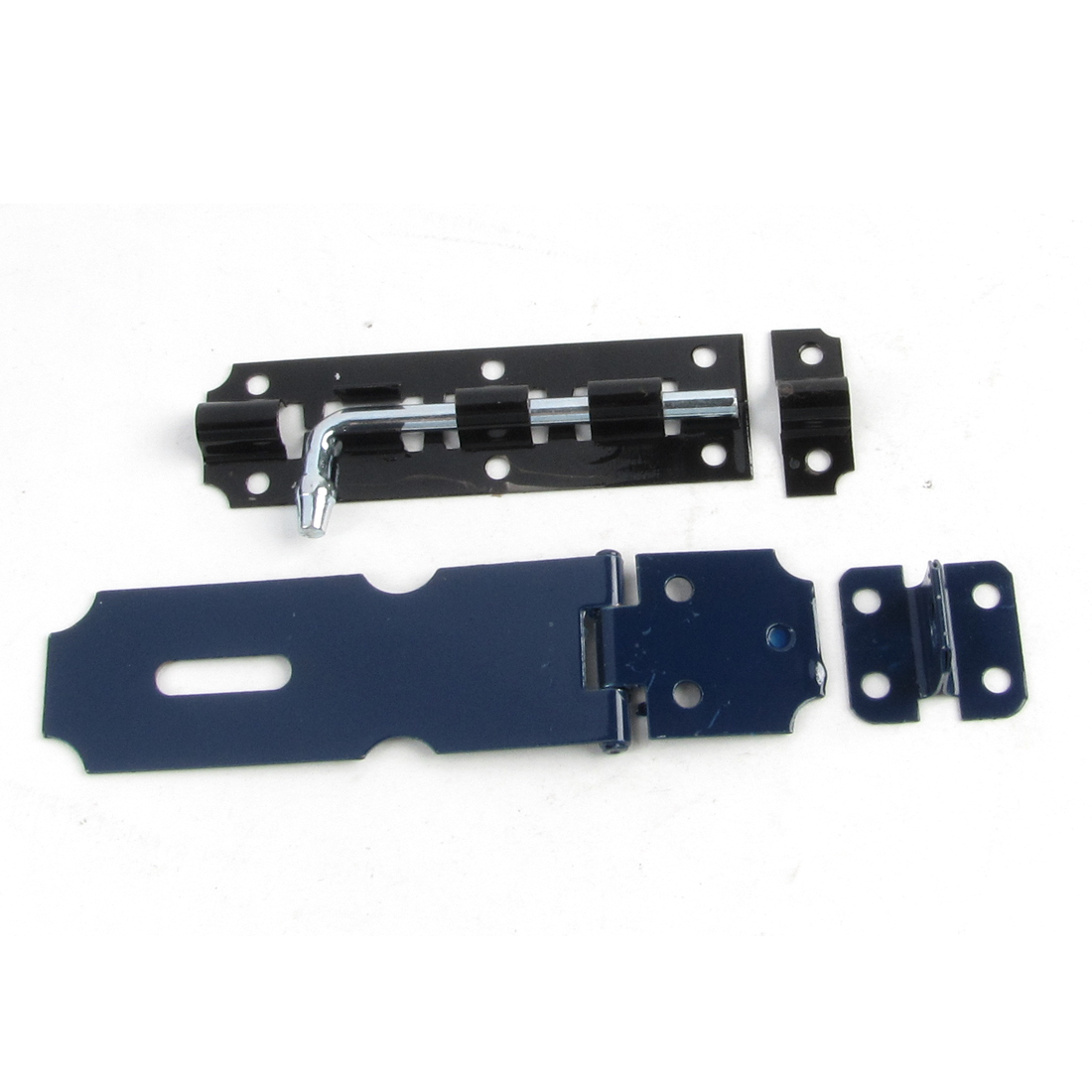 Garage Hardware Security Blue Metal Hasp Staple Black Barrel Bolt Set