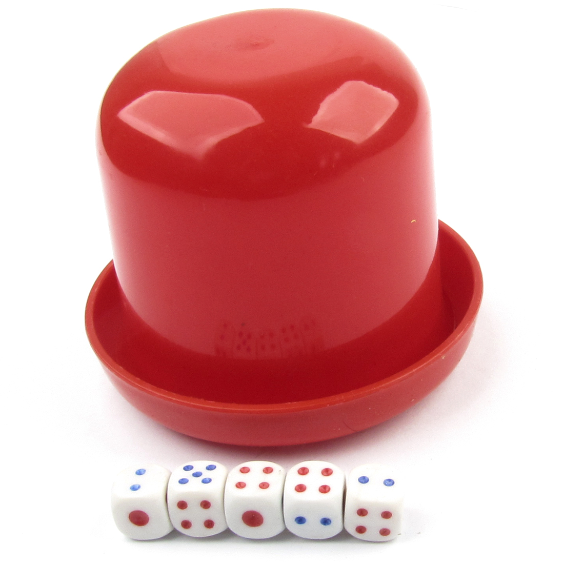 Bar Casino Guessing Games Tool Plastic Red Shaker Cup Dice Set