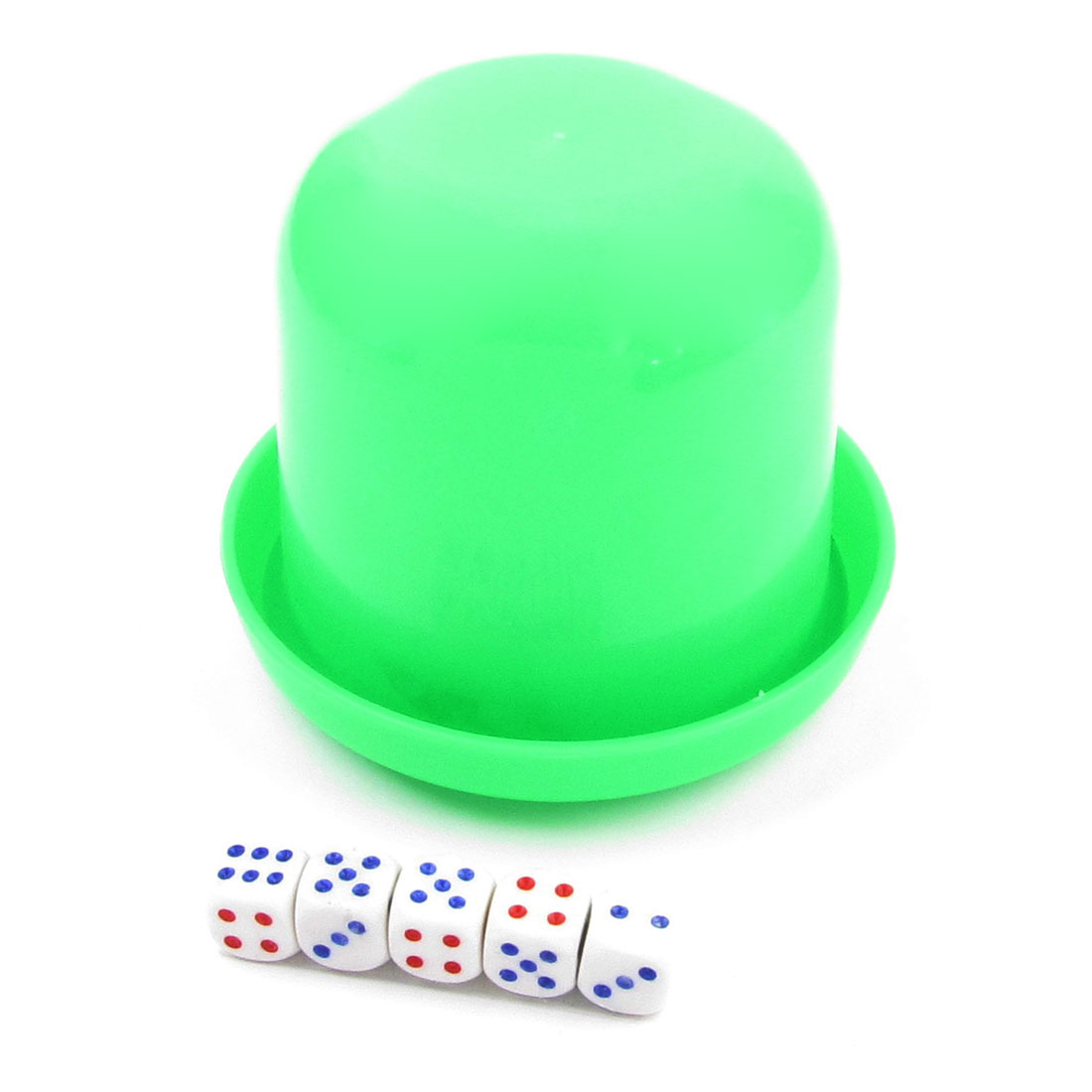KTV Pub Game Toy Green Plastic Holder Shaking Cup Box w 6 Dice