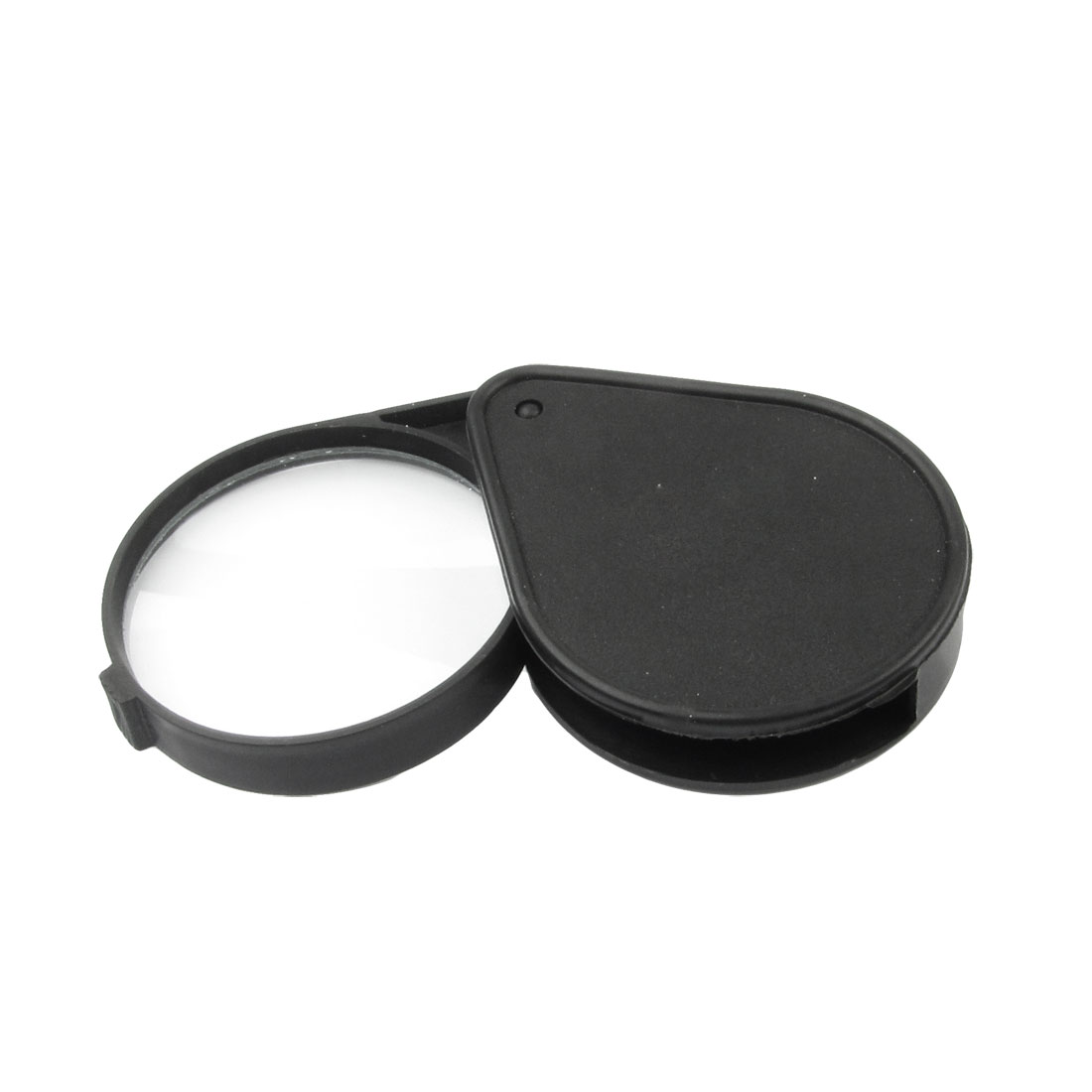 Plastic Black Water Drop Shape Case 60mm Dia Map Loupe 5X Magnifier