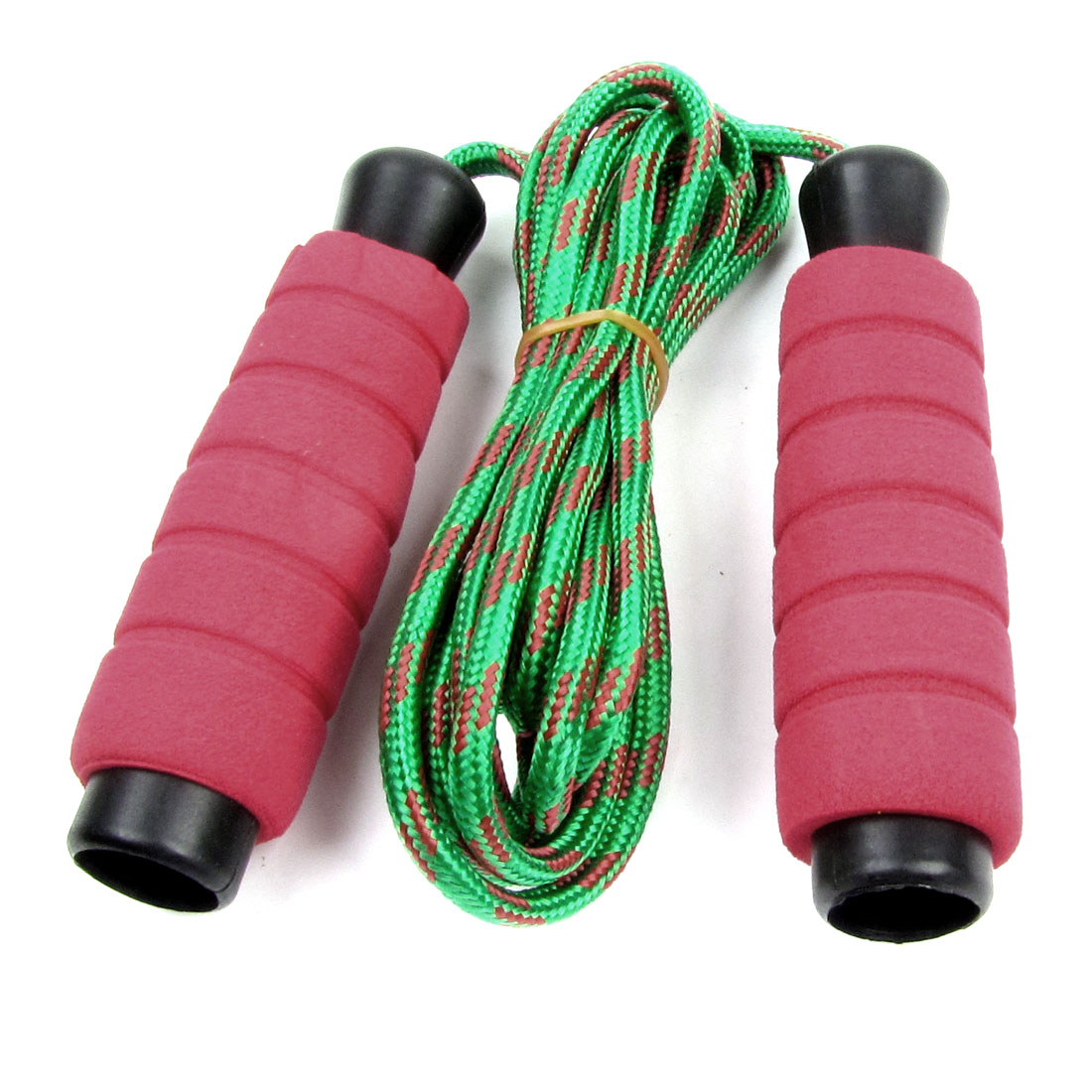 Exercise Magenta Sponge Handle Green Braid Cord kipping Jumping Skip Rope 7.2Ft