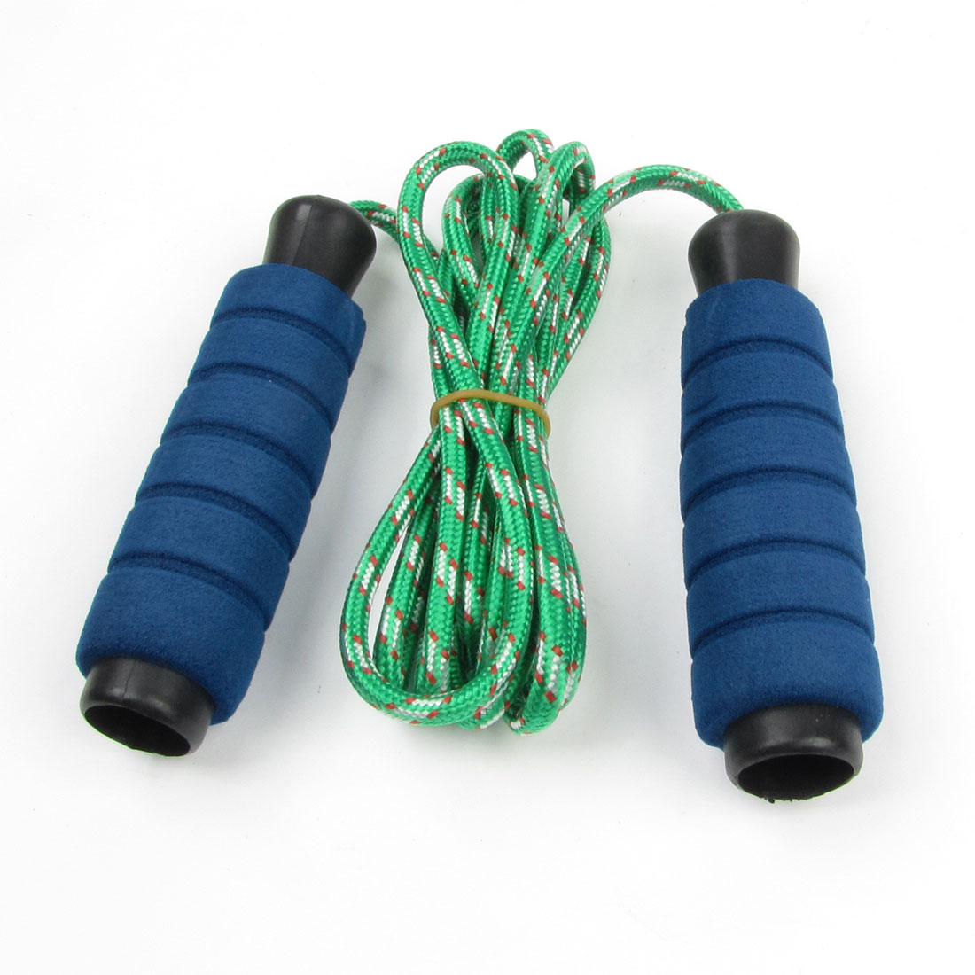 Green Braided Cord Blue Sponge Antislip Grip Skipping Jumping Skip Rope 7.2Ft