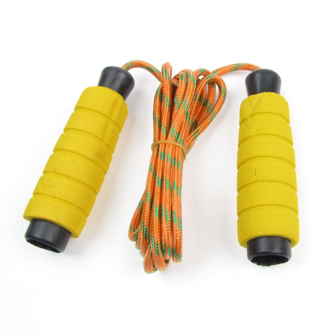 Sports Yellow Handle Orange Braided Nylon Cord Skipping Jumping Skip Rope 7.2Ft