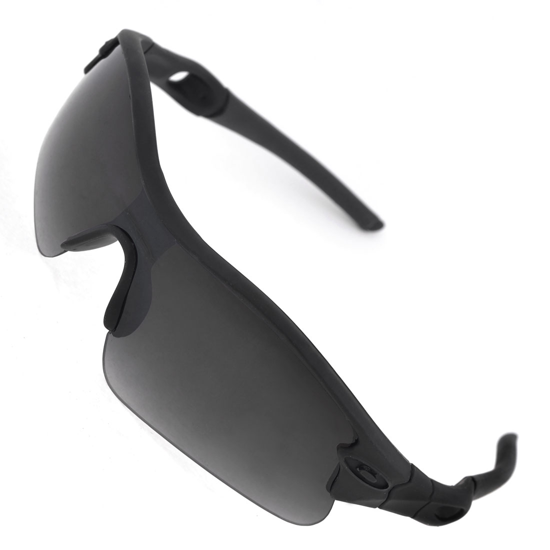 Unisex Black Half Frame Rubber Wrapped Arms Dark Gray Lens Sunglasses