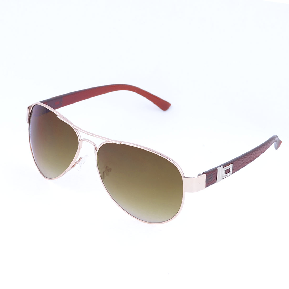 Men Metal Full Rim Brown Lens Protective Glasses Sunglasses