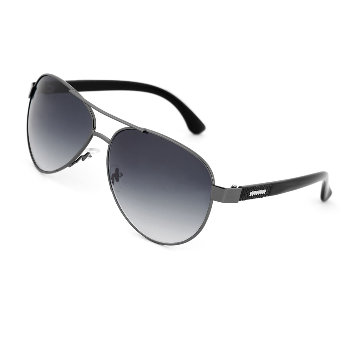 Men Gradient Raindrop Len Metal Slanting Stripes Inlaid Textured Arm Sunglasses