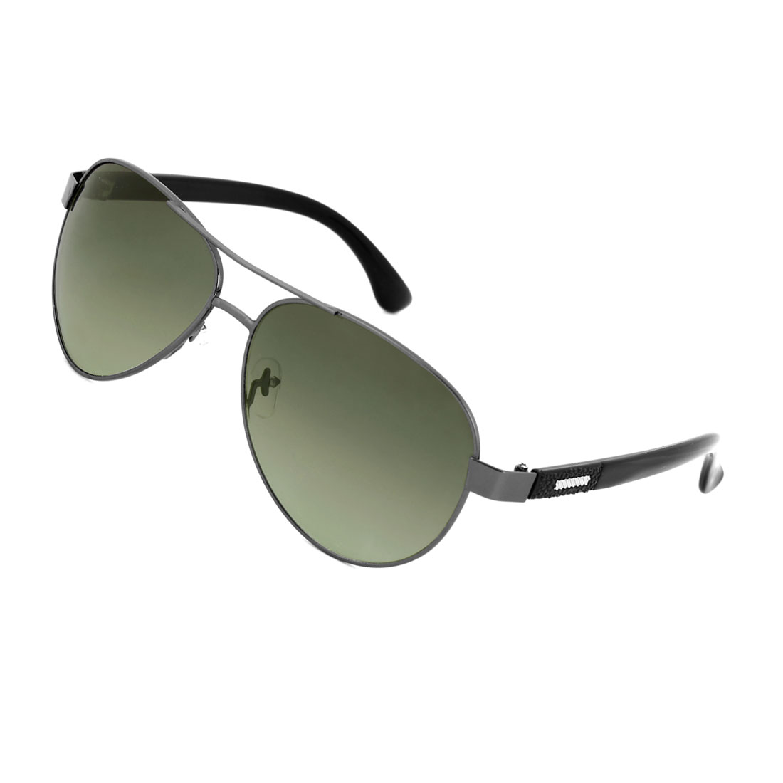 Men Clear Green Teardrop Len Metal Slanting Stripes Decor Textured Arm Sunglasses