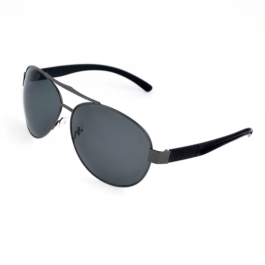 Men Black Plastic Arms Full Metal Frame Double Bridge Lens Sunglasses