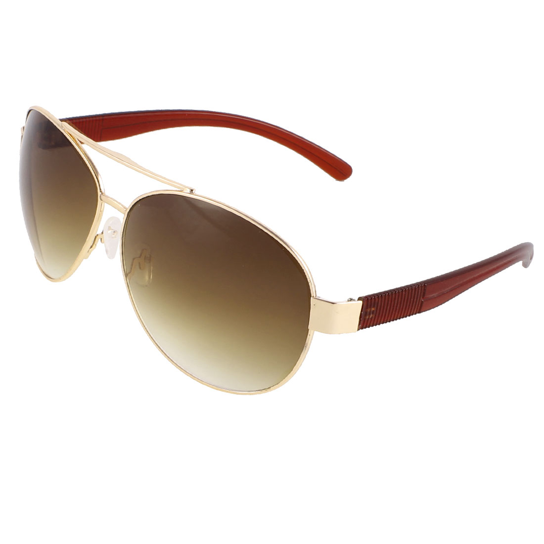 Men Traveling Gold Tone Slim Metal Browm Lens Protective Sunglasses