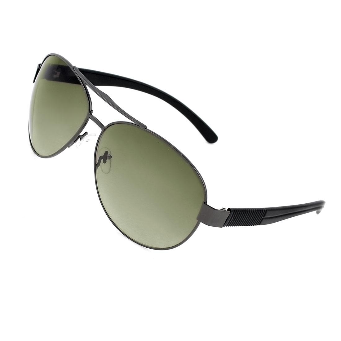 Men Travelling Slim Metal Rim Teardrop Green Lens Protective Glasses Sunglasses