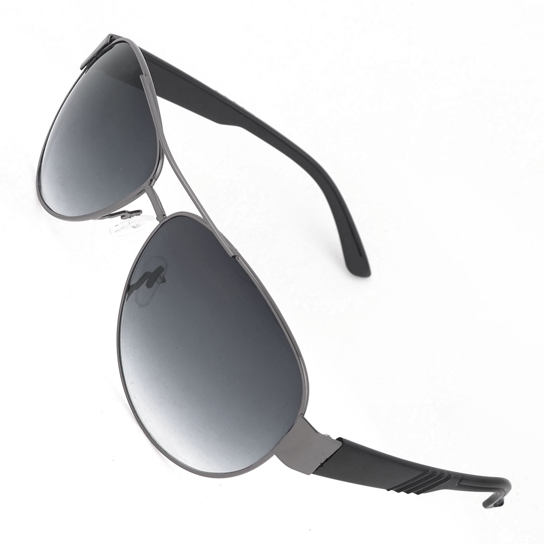 Portable Men Double Slim Metal Rim Colored Lens Black Arms Sunglasses