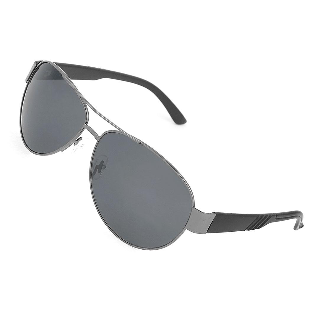 Men Gray Teardrop Lens Metal Full Frame Plastic Arms Sunglasses