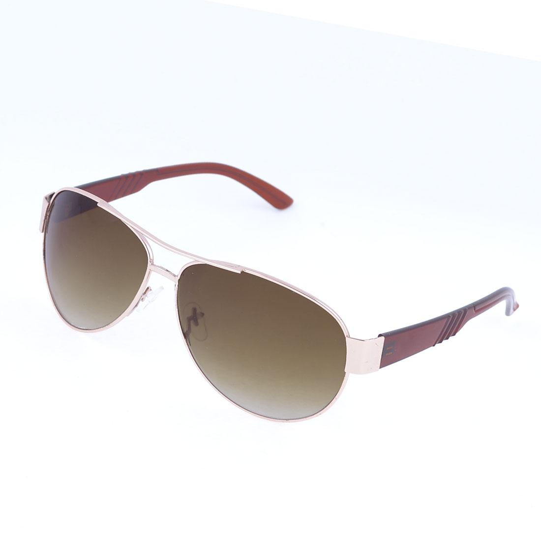 Men Travelling Slim Metal Rim Brown Lens Protective Glasses Sunglasses