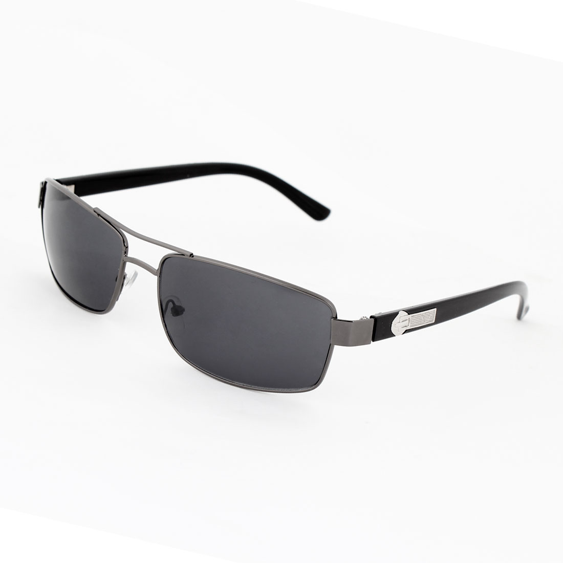 Clear Gray Rectangular Lens Metal Full Rim Sunglasses for Men