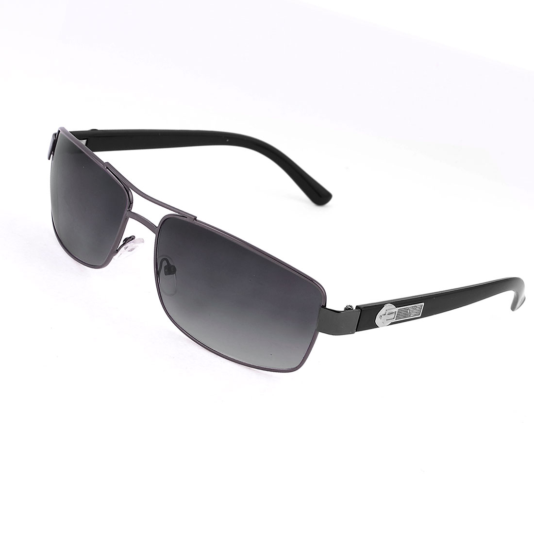 Man Metal Rim Rectangle Black Lens Plastic Arms Eyes Protective Sunglasses