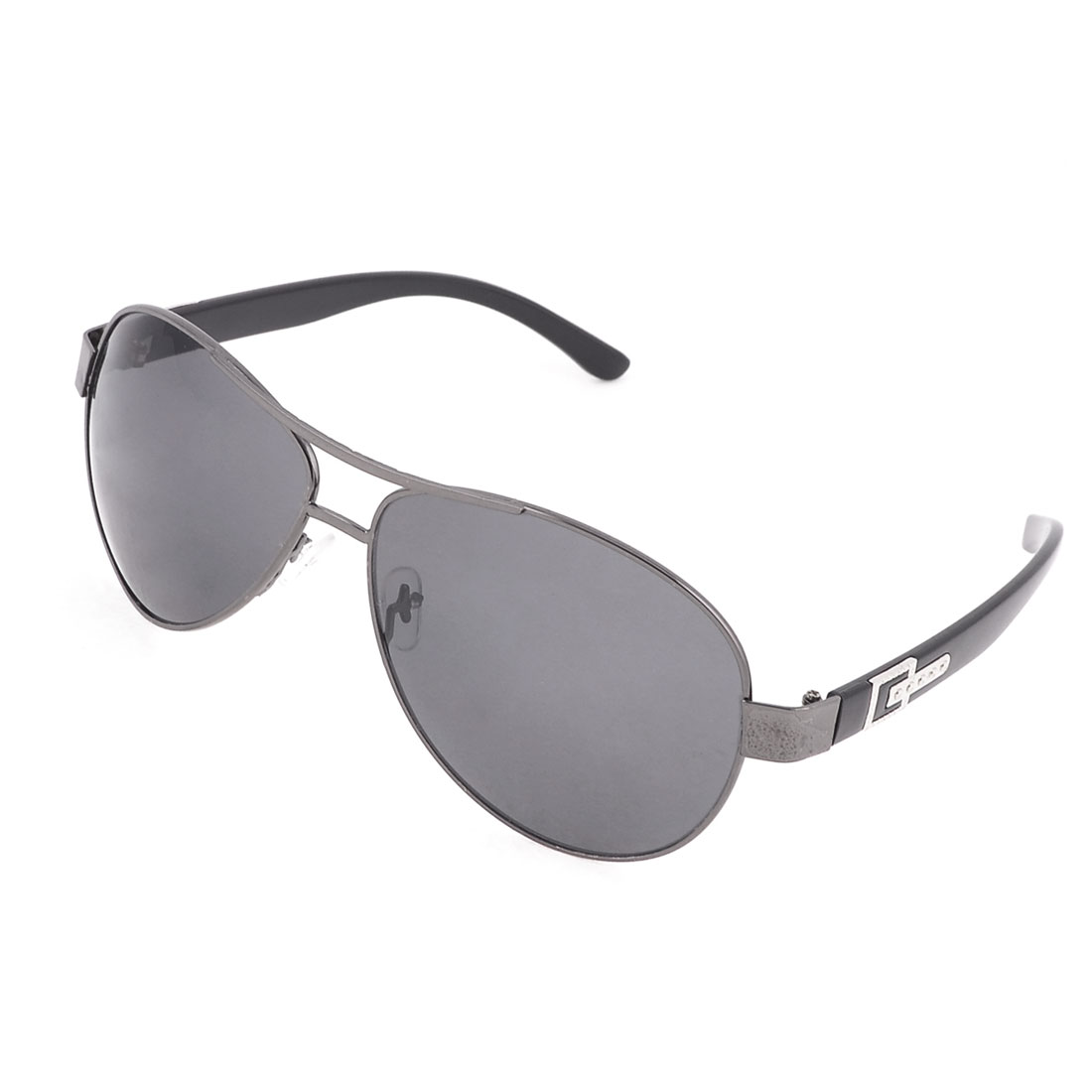 Men Travelling Metal Rim Teardrop Black Lens Protective Glasses Sunglasses