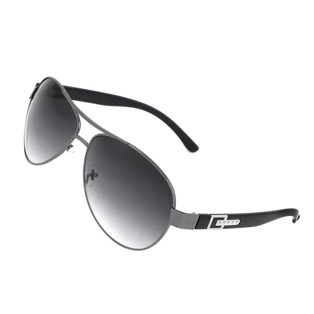 Man Fishing Metal Rim Black Lens Plastic Arms Protective Glasses