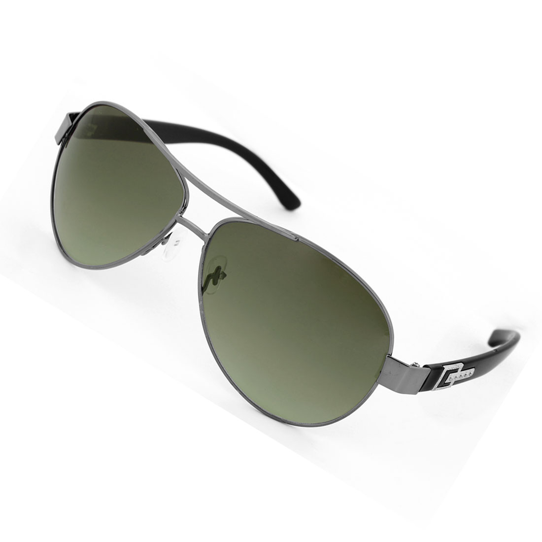 Man Metal Dual Bridges Clear Green Teardrop Len Sunglass Glasses