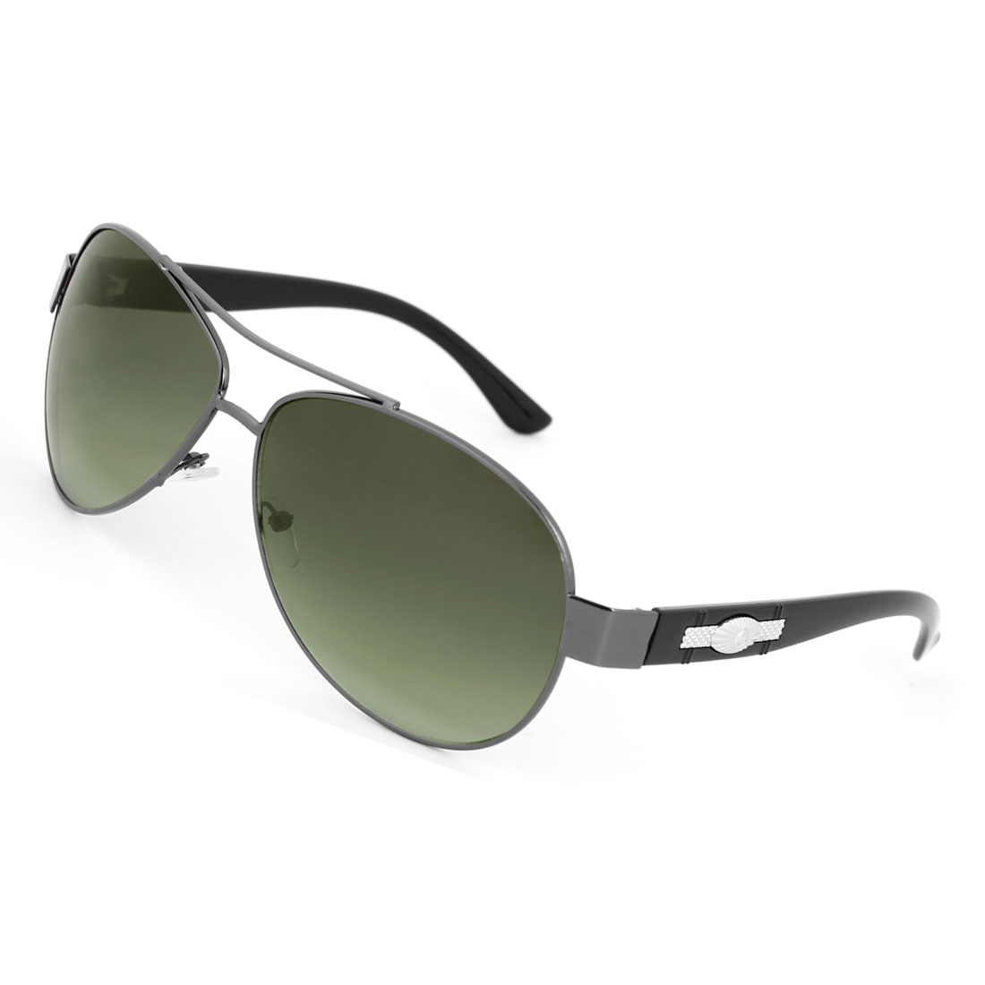Men Clear Green Water Drop Len Oval Shaped Metal Decorated Arm Sunglasses