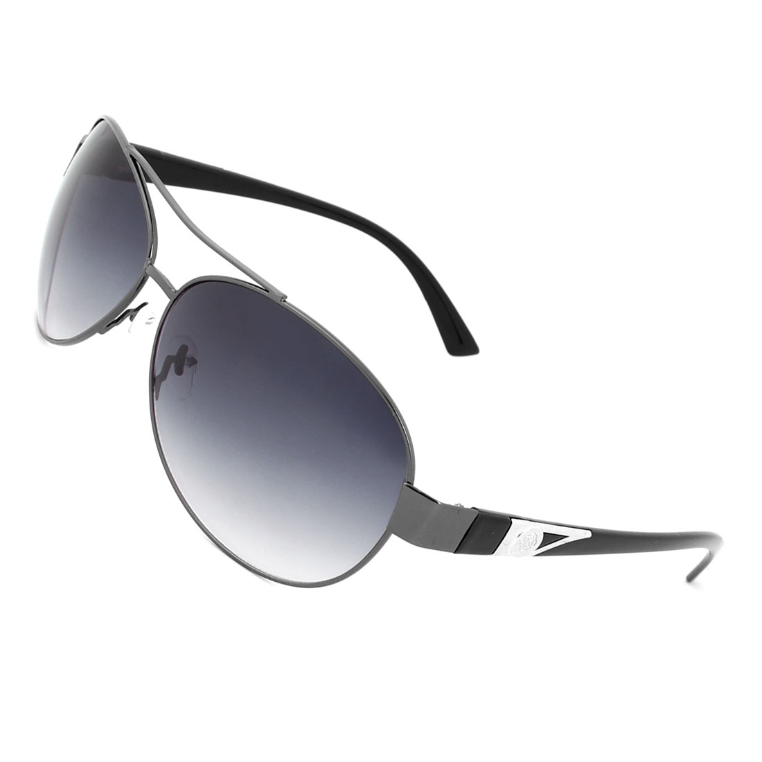 Tinted Raindrop Circular Metal Inlaid Arms Sunglass for Man