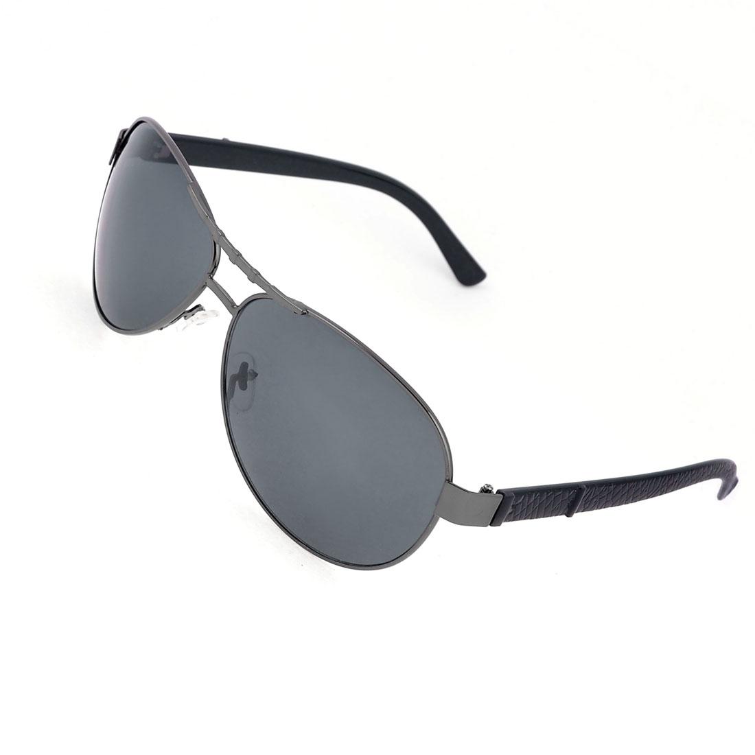 Man Metal Rim Waterdrop Black Lens Leisure Eyes Protective Sunglasses