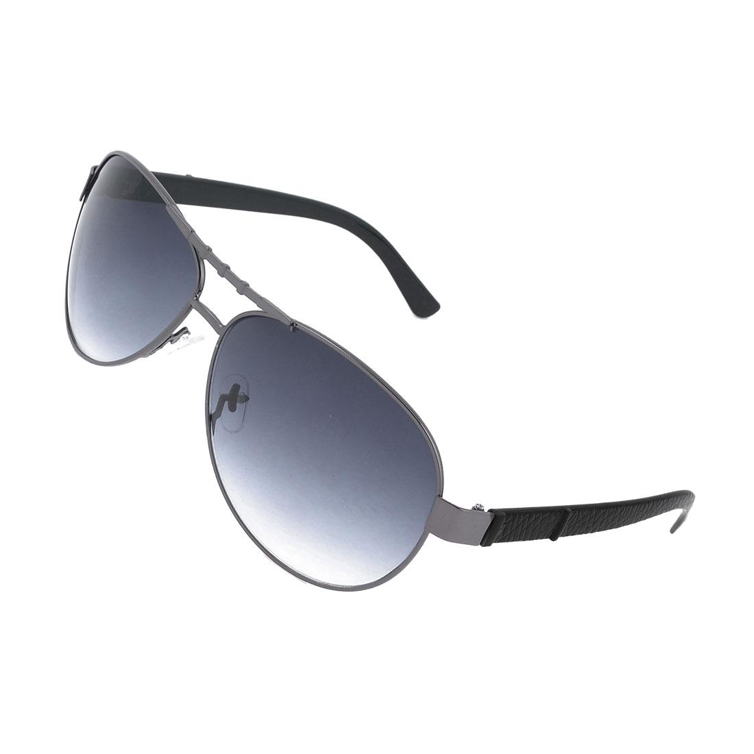 Gentlemen Full Frame Metal Brideg Black Lens Protective Glasses Sunglasses