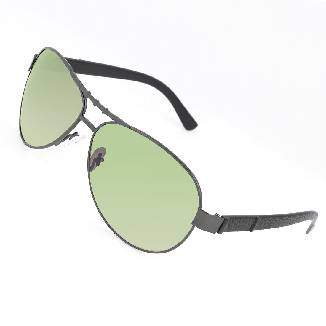 Eye Protector Green Lens Black Plastic Arms Glasses Sunglasses for Man