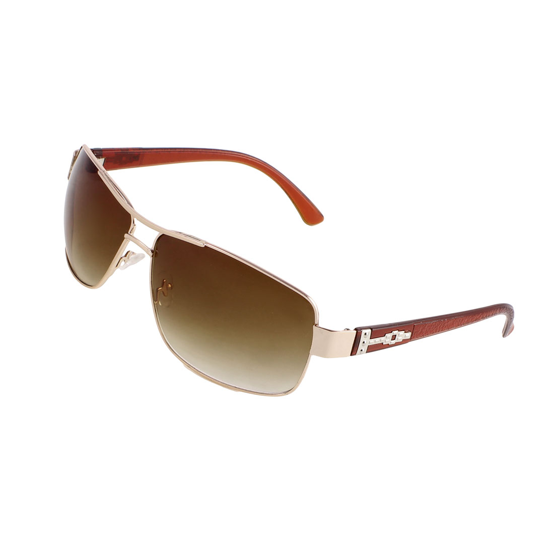 Brown Lens Gold Tone Metal Plastic Rough Arms Protective Sunglasses