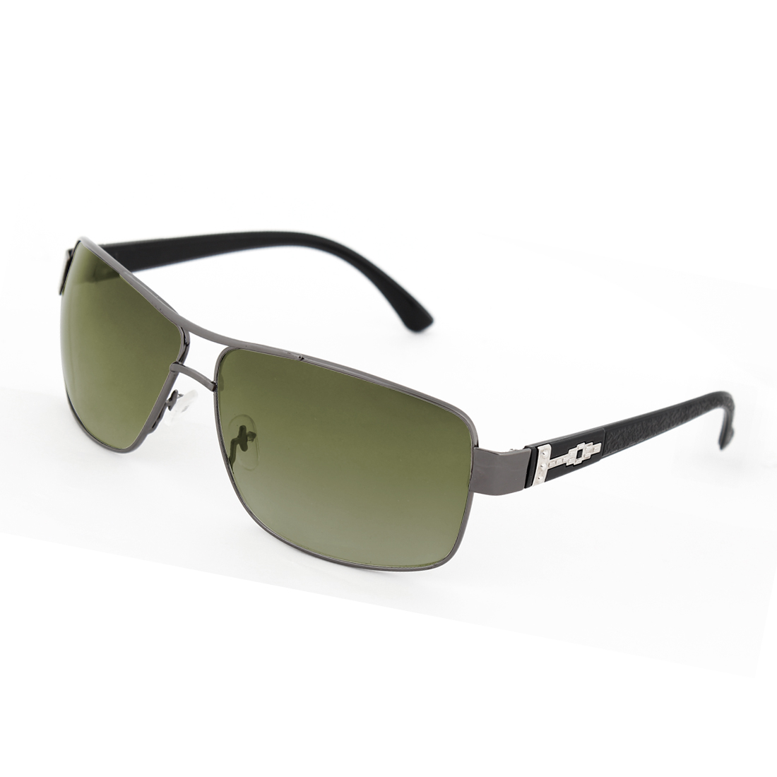 Clear Green Rectangular Design Len Metal Full Frame Sunglasses for Men