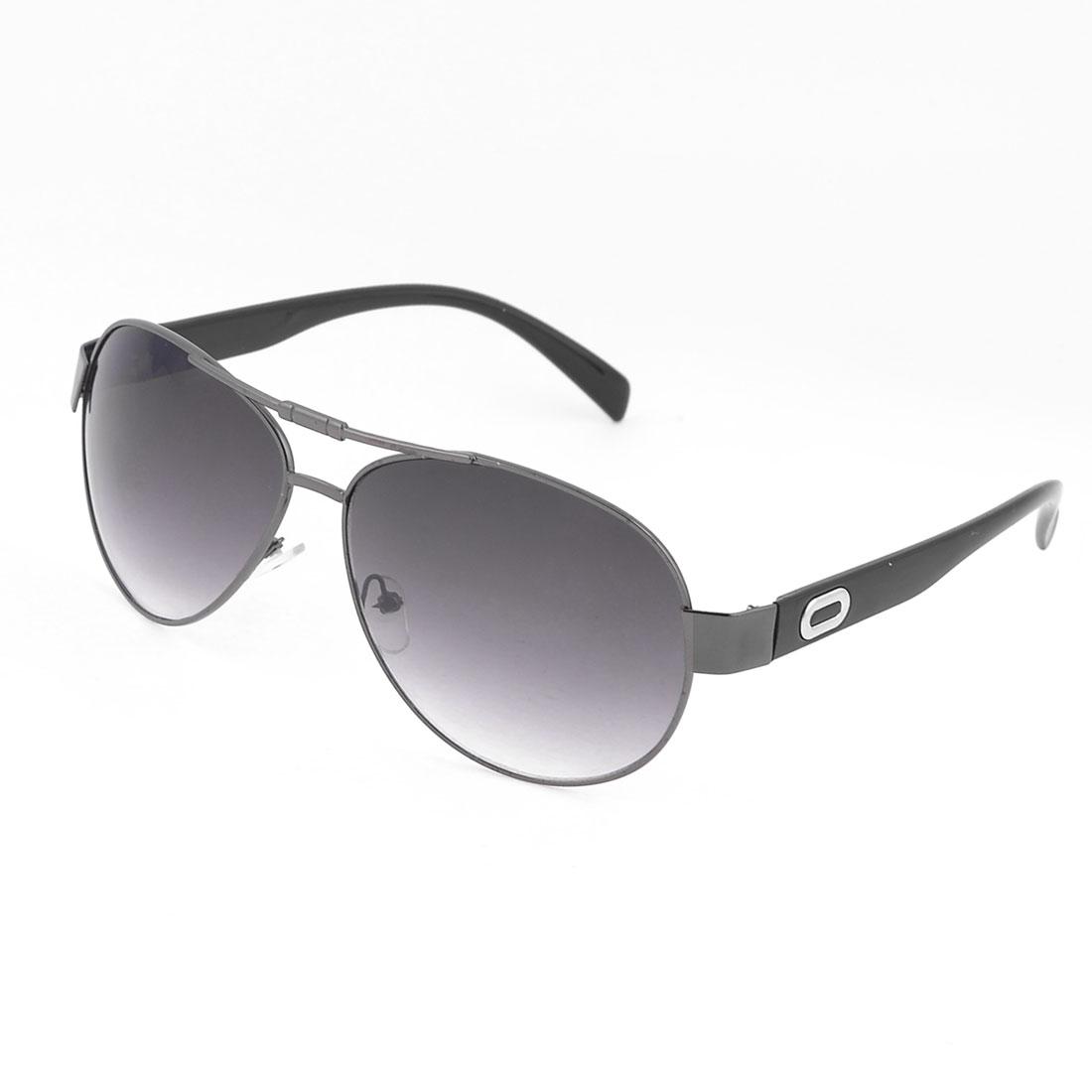 Men Fishing Black Slim Metal Rim Colored Lens Protective Glasses Sunglasses