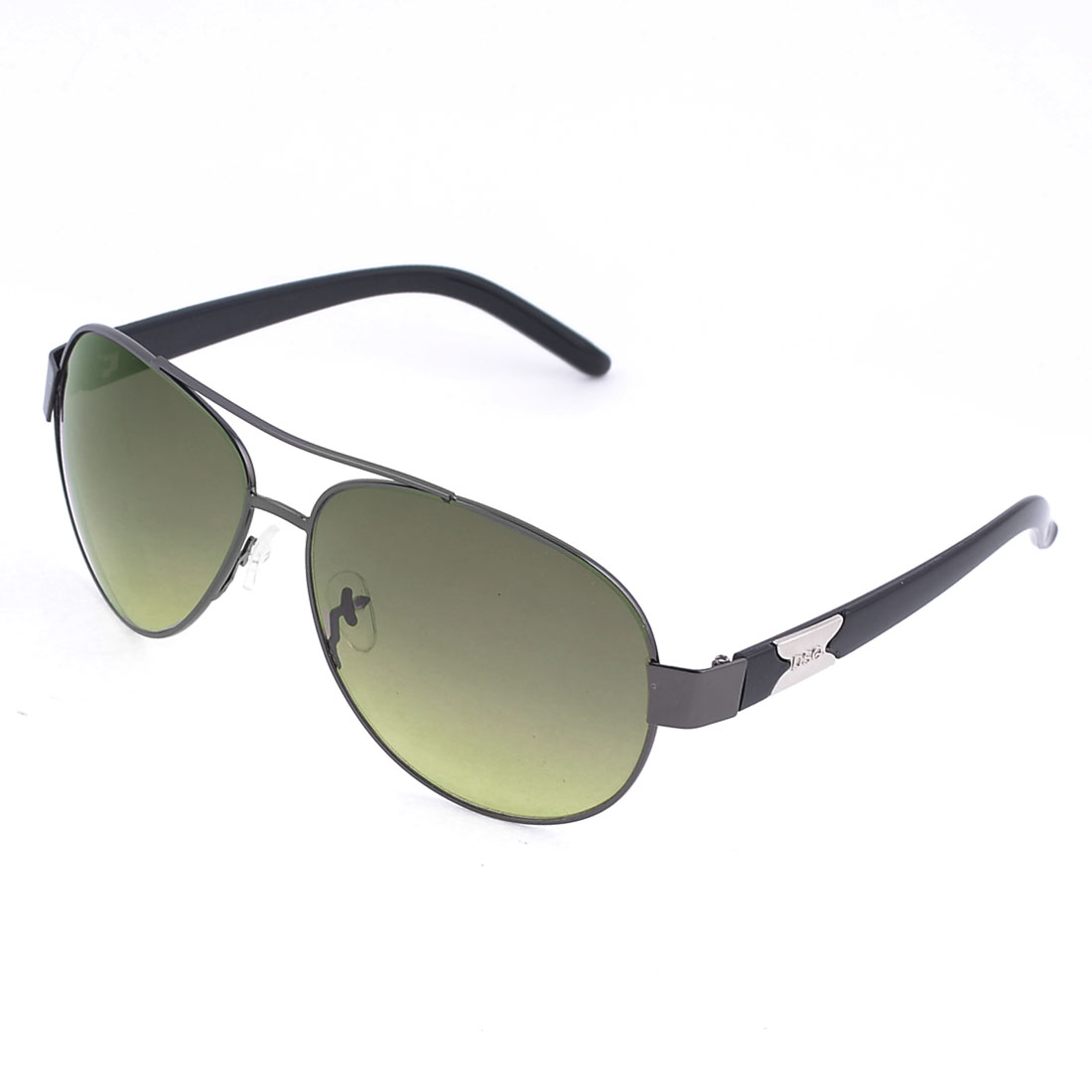 Men Gray Metal Full Frame Double Bridge Olive Green Lens Sunglasses