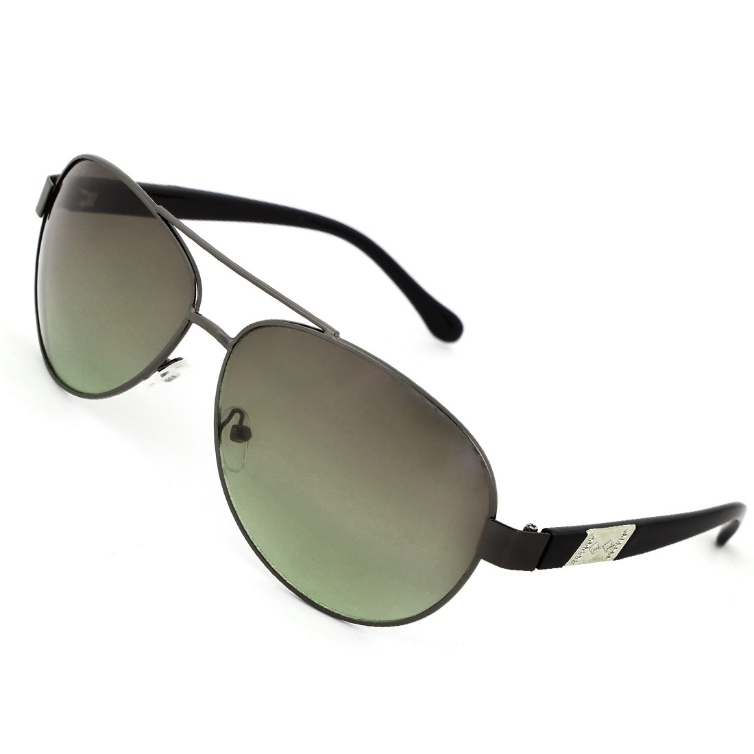 Clear Green Water Drop Len Rhombus Shaped Metal Inlaid Arm Sunglasses for Man
