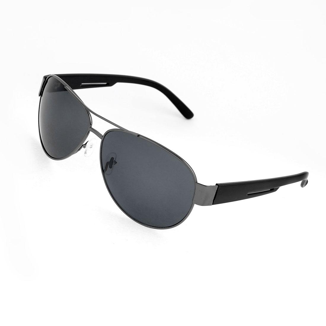 Black Plastic Arms Metal Full Rim Colored Lens Sunglasses for Men
