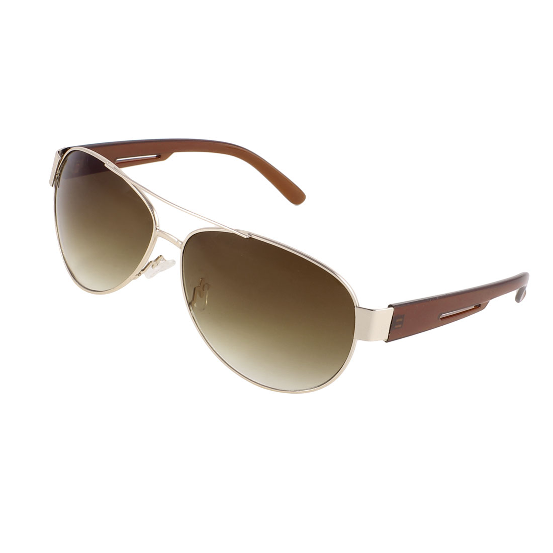 Browm Lens Gold Tone Metal Frame Plastic Smooth Arms Driving Sporting Sunglasses
