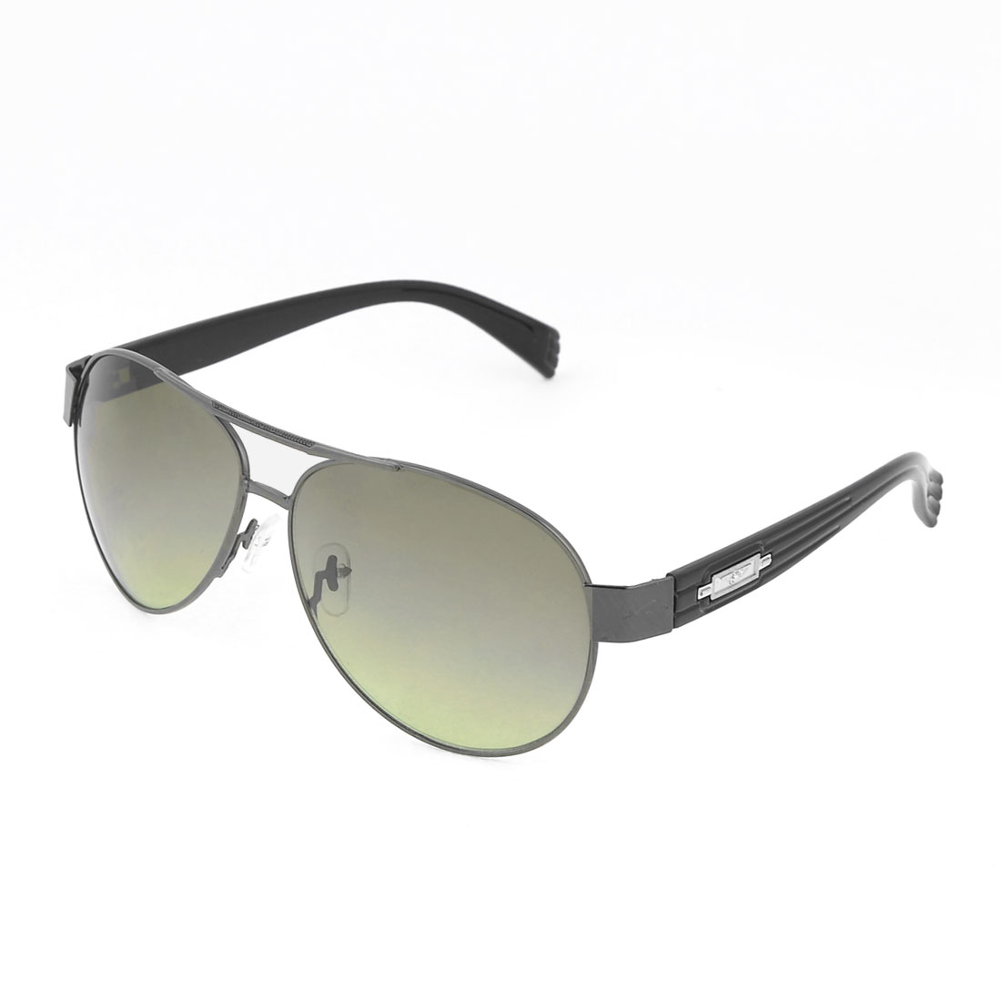 Men Slim Metal Rim Teardrop Green Lens Leisure Protective Sunglasses