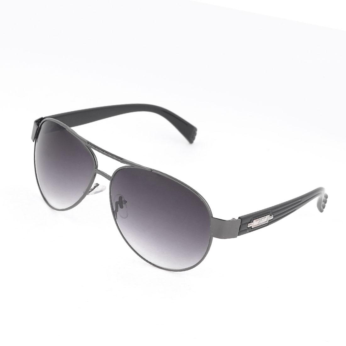 Men Slim Metal Rim Teardrop Black Lens Leisure Protective Sunglasses