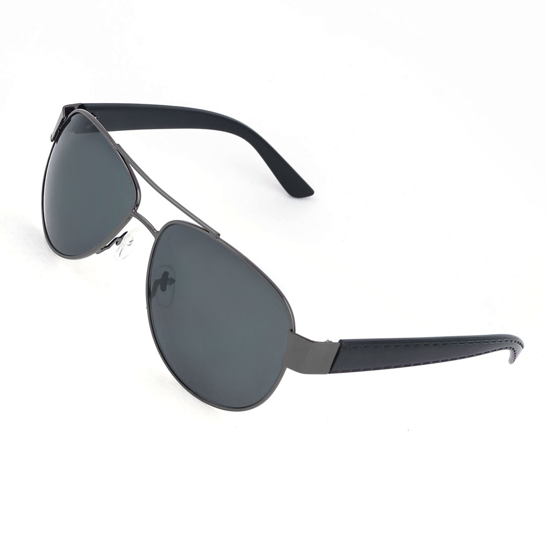 Men Travelling Black Slim Metal Rim Colored Lens Protective Glasses Sunglasses