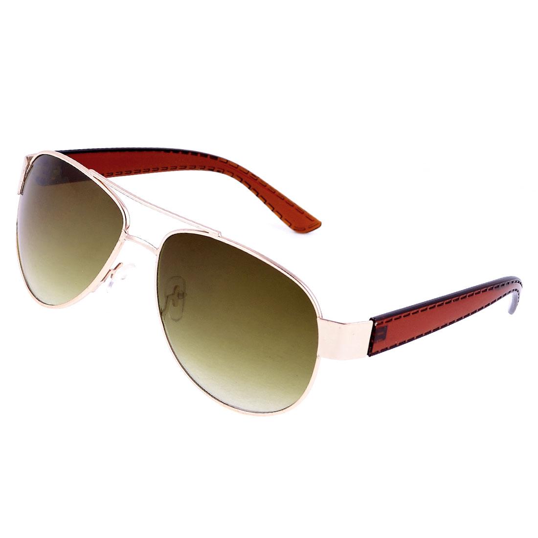 Man Leisure Metal Rim Brown Lens Plastic Arms Eyes Protective Sunglasses