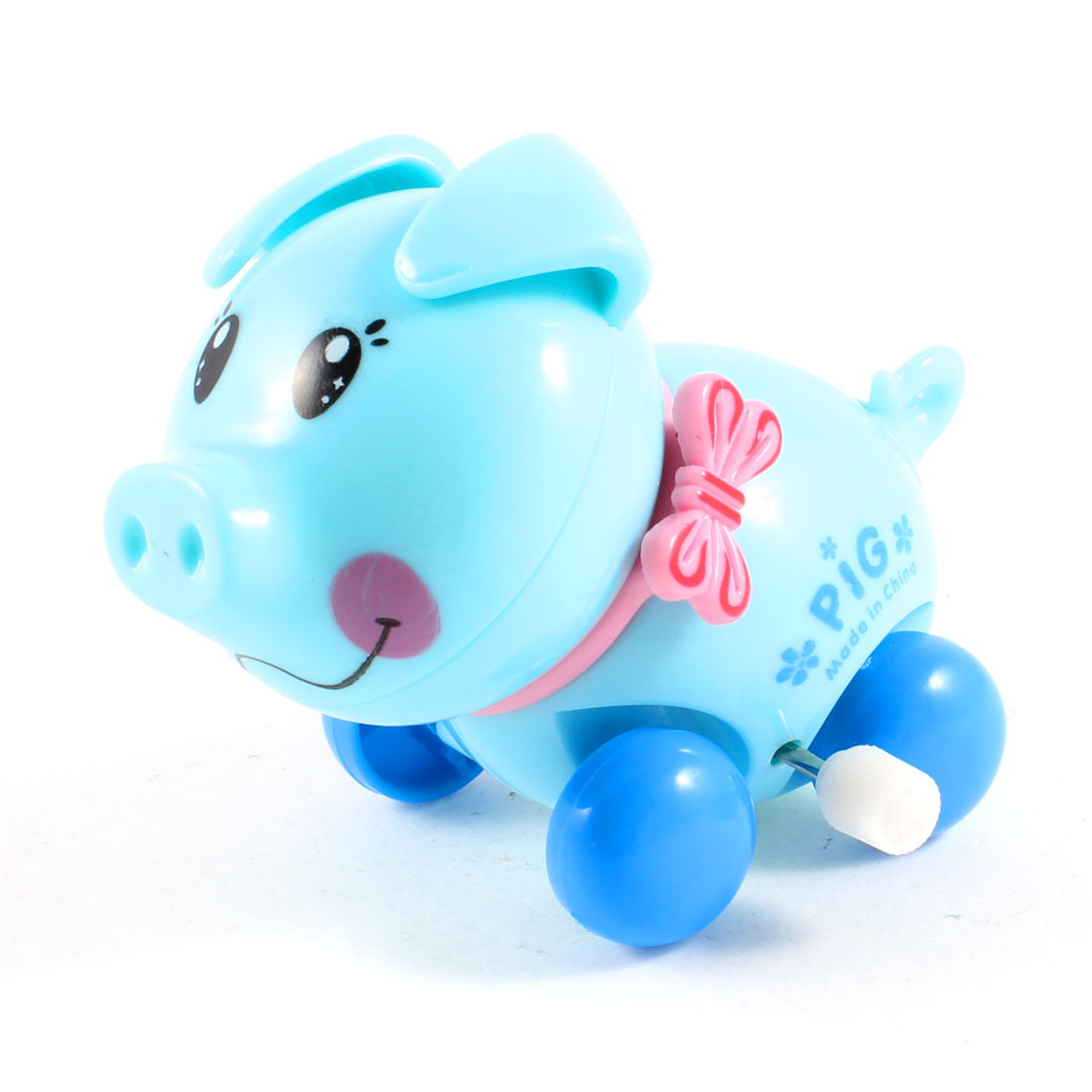 Pink Baby Blue Plastic Wind Up Design Clockwork Cartoon Pig Toy for Kids
