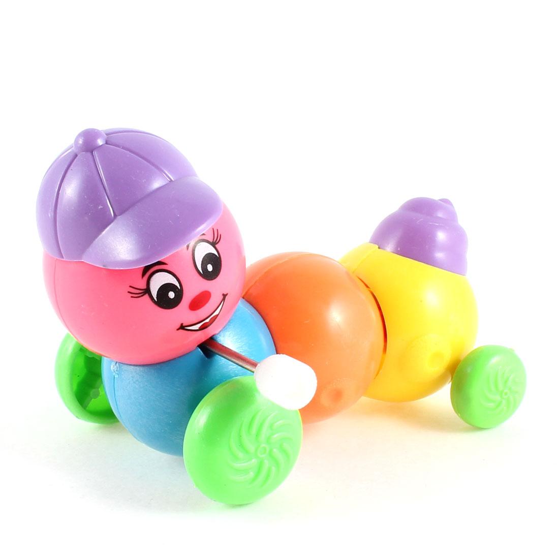 Plastic 4 Sections Wind up Clockwork Cartoon Carpenterworm Toy for Kids