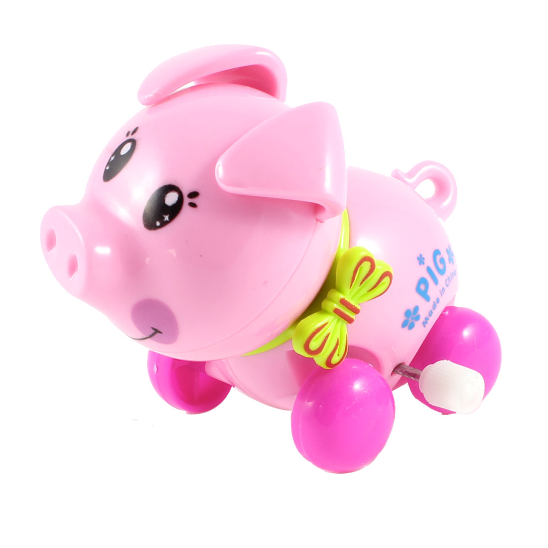 Children Clockwork Wind Up Folwer Print Cartoon Pig Toy Pink Fuchsia Green